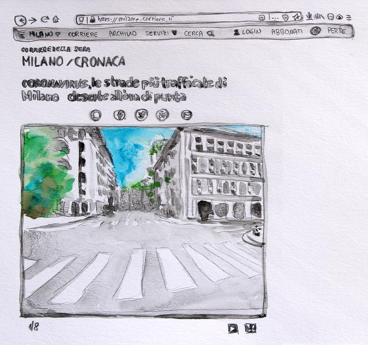 Isabella Pers_SIC TRANSIT GLORIA MUNDI Corriere Marzo 2020_grafite e acquarello su carta cotone_aprile 2020_IG